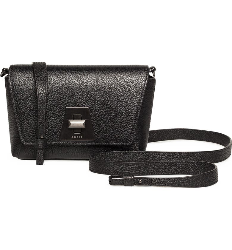 AKRIS Little Anouk Leather Crossbody Bag, Main, color, 009 BLACK