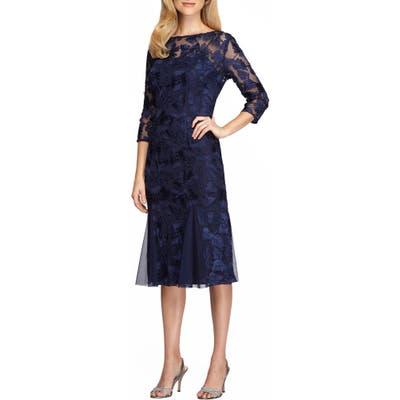 Petite Alex Evenings Lace Midi Dress, Blue