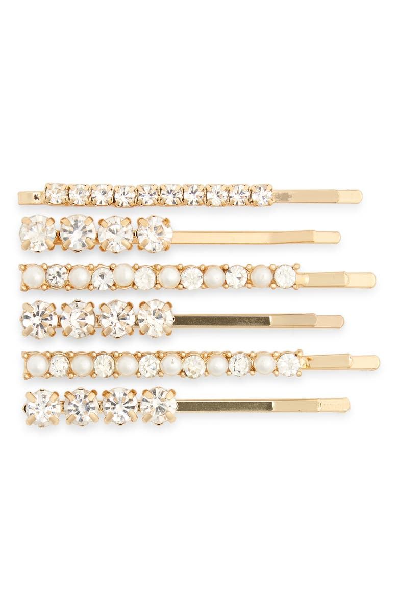 BP. Set of 6 Imitation Pearl & Crystal Hair Clips, Main, color, IVORY COMBO