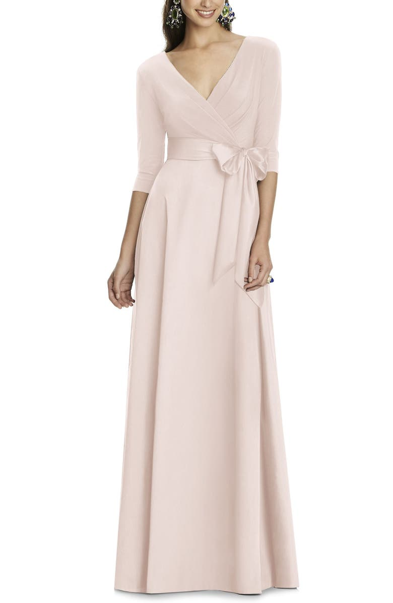 ALFRED SUNG Jersey & Mikado A-Line Gown, Main, color, BLUSH