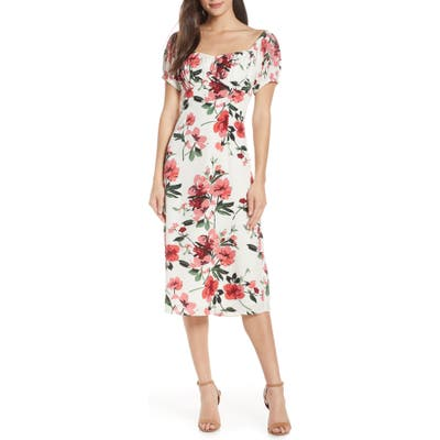 Chelsea28 Floral Print Sweetheart Midi Dress, Red