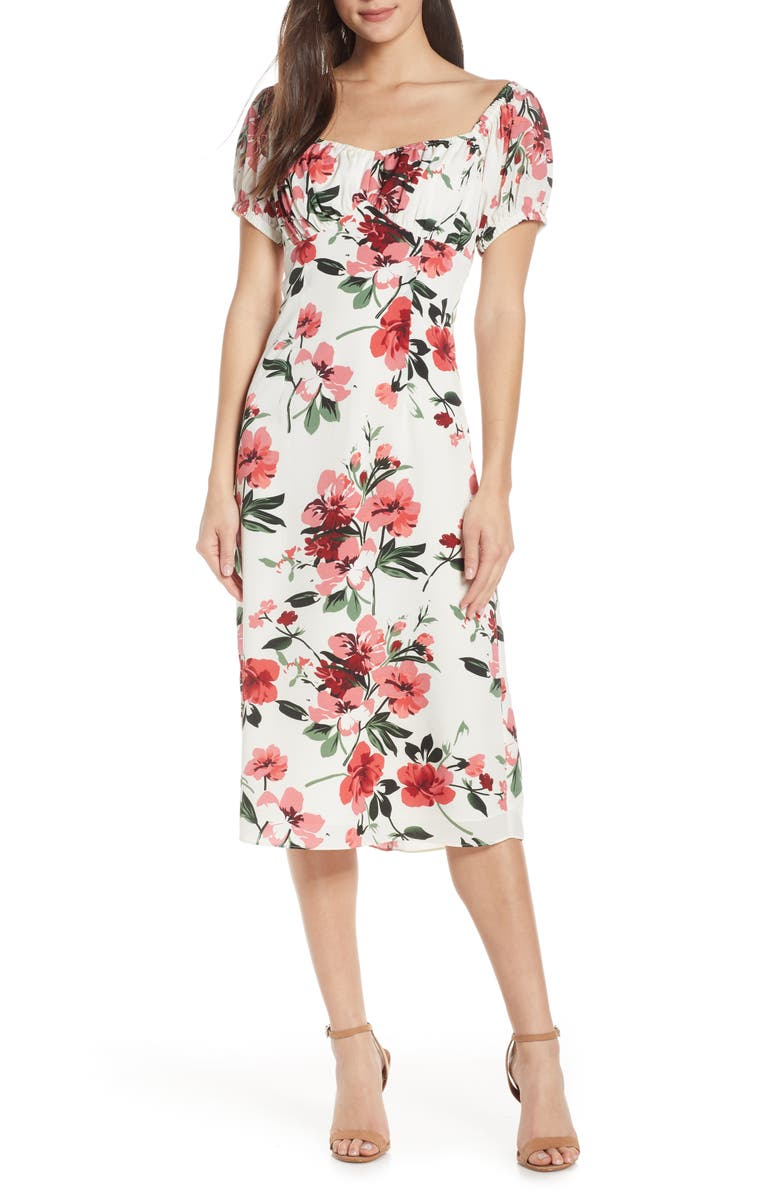 CHELSEA28 Floral Print Sweetheart Midi Dress, Main, color, 620