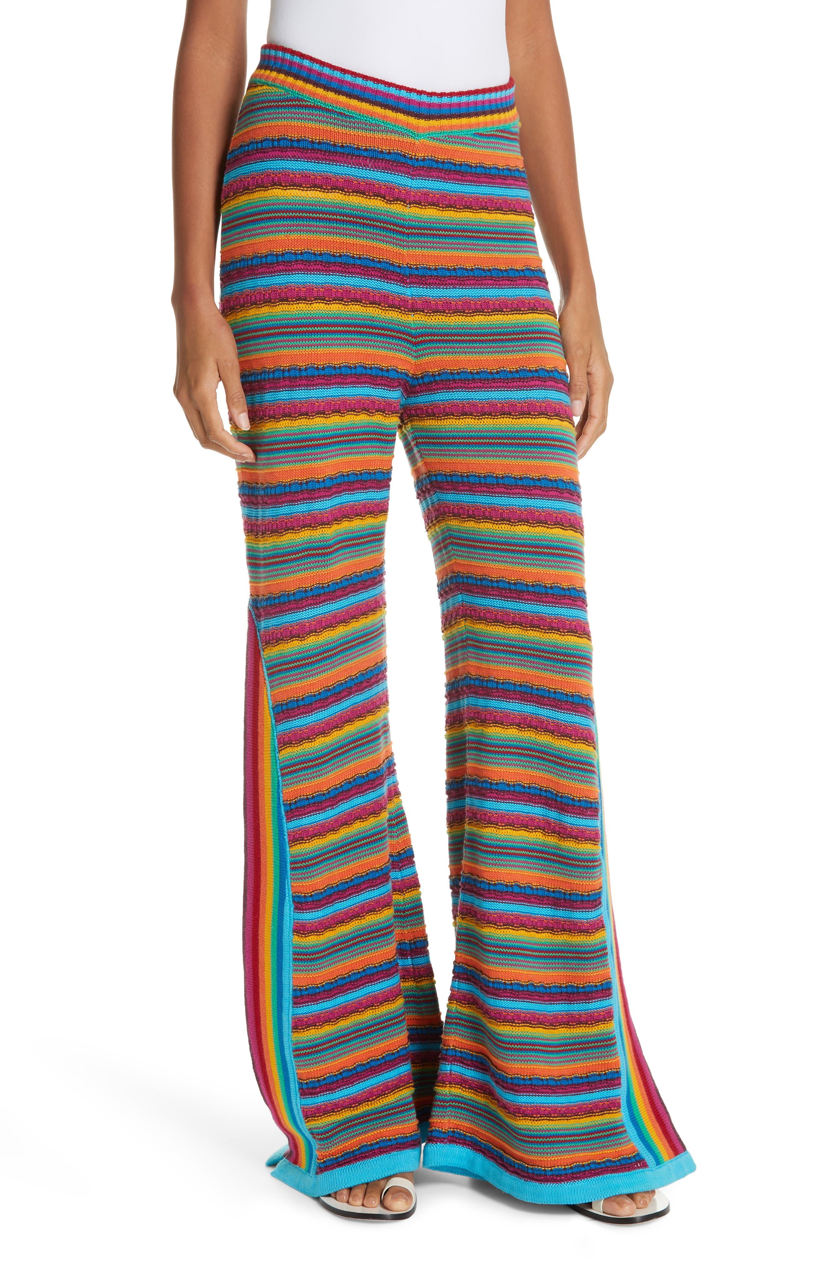 60s – 70s Pants, Jeans, Hippie, Bell Bottoms, Jumpsuits Womens All Things Mochi Oceana Stripe Crochet Pants $195.98 AT vintagedancer.com