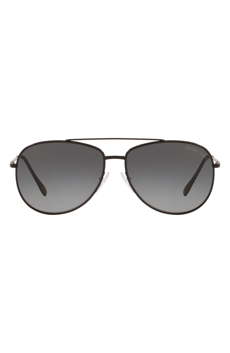 PRADA 61mm Gradient Polarized Aviator Sunglasses, Main, color, 001