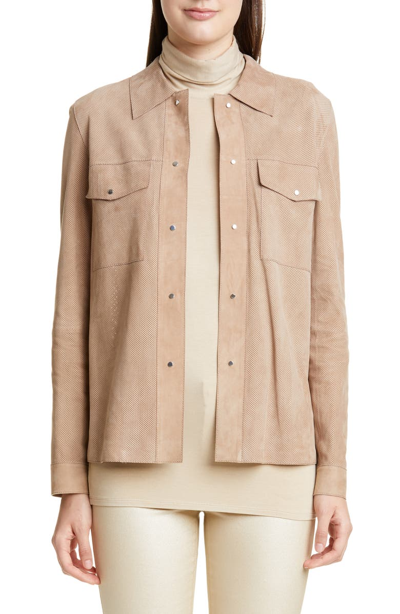 LAFAYETTE 148 NEW YORK John Suede Shirt Jacket, Main, color, 250