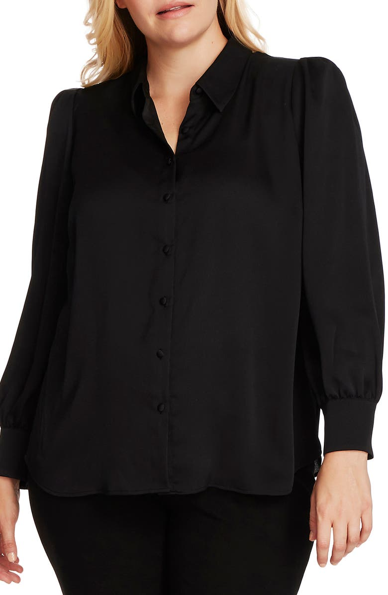 VINCE CAMUTO Hammered Satin Long Sleeve Blouse, Main, color, RICH BLACK