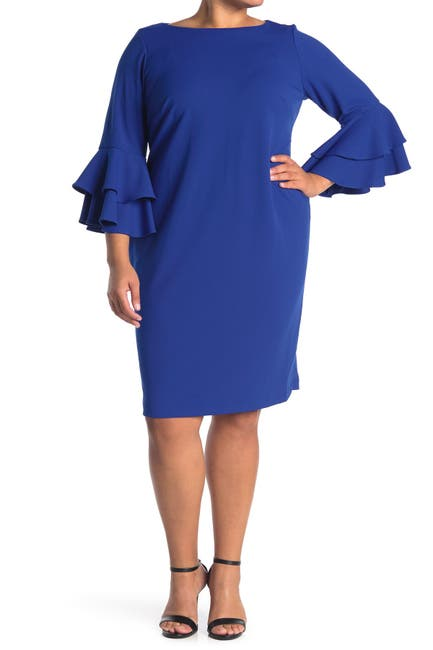 Image of Calvin Klein Double Tier Bell Sleeve Sheath Dress