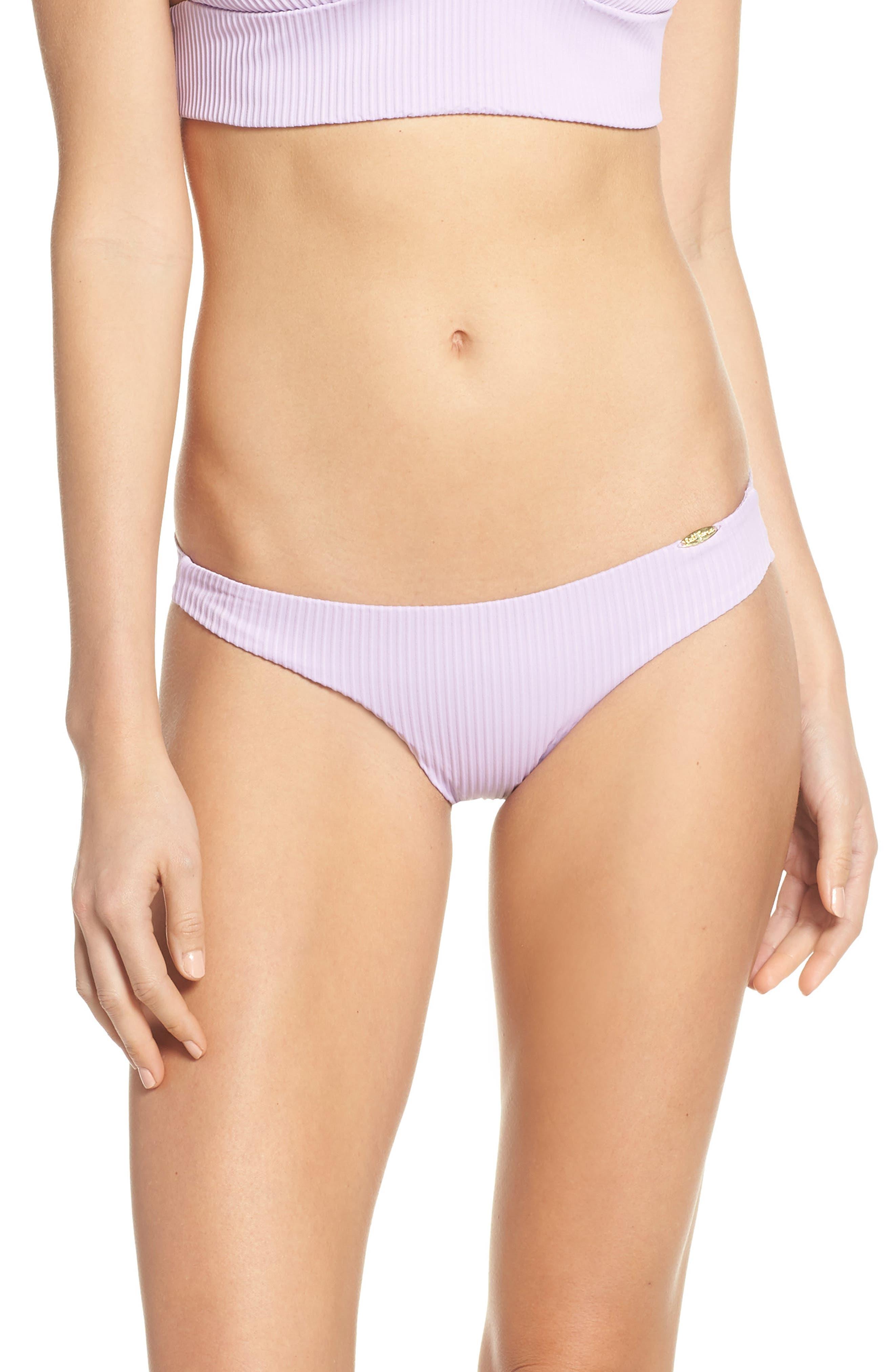 Luli Fama Orillas Del Mar Ruched Bikini Bottoms, Purple