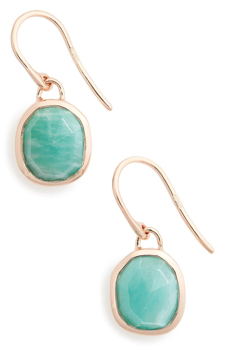 MONICA VINADER Siren Semiprecious Stone Drop Earrings, Main, color, AMAZONITE/ ROSE GOLD
