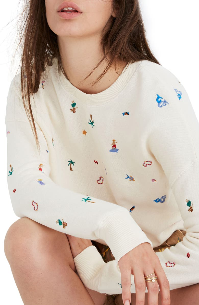 MADEWELL Lei-Cation Embroidered Mainstay Sweatshirt, Main, color, 900