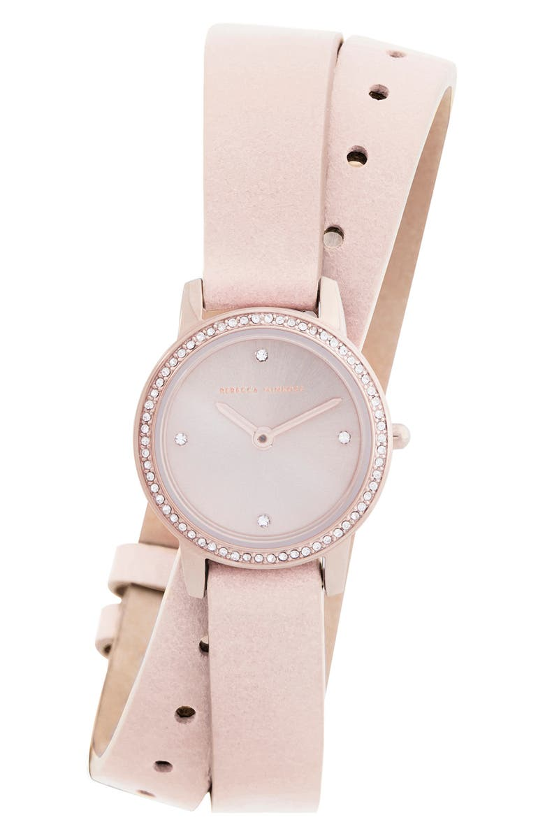 REBECCA MINKOFF Major Double Wrap Leather Strap Watch, 22mm, Main, color, BLUSH/ SILVER