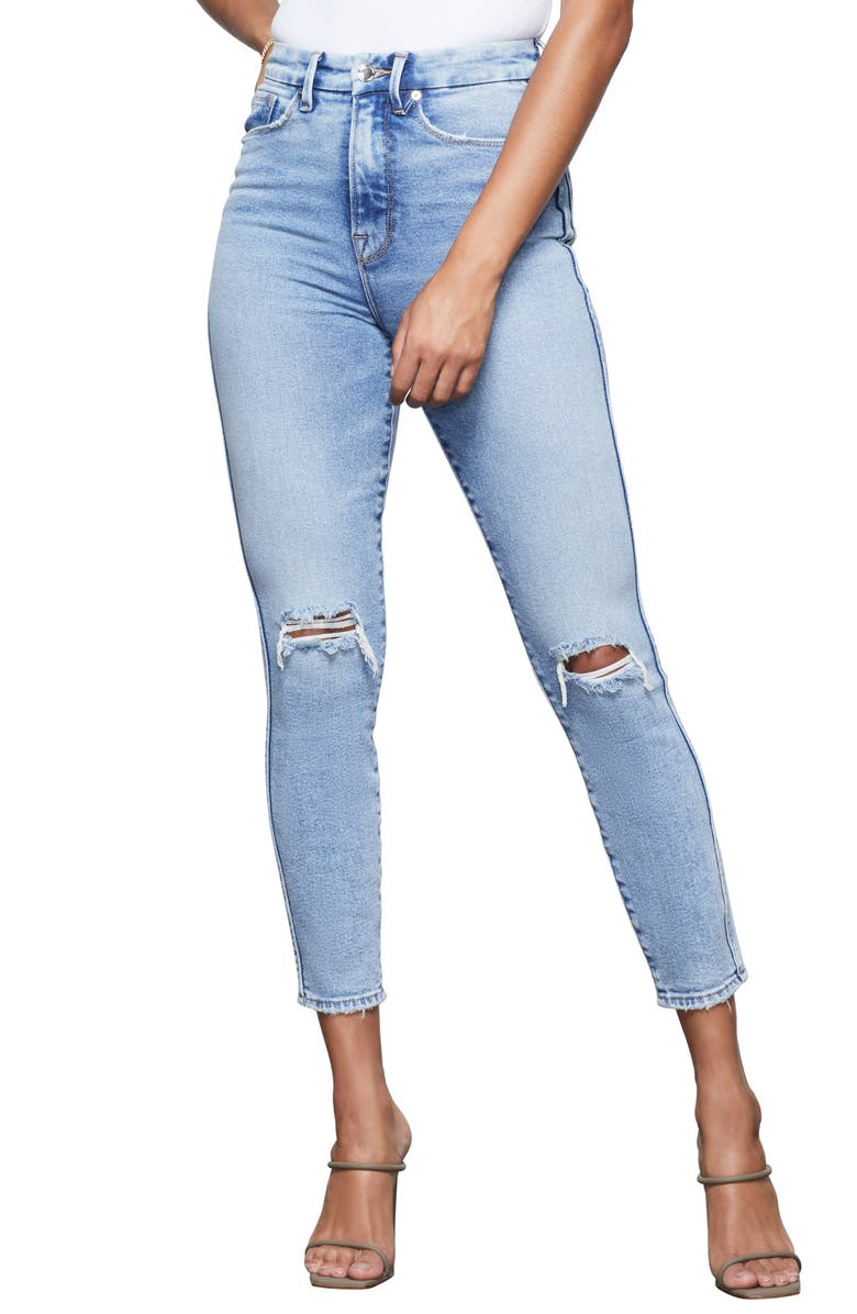 GOOD AMERICAN Good Curve High Waist Ripped Crop Skinny Jeans, Main, color, BLUE355