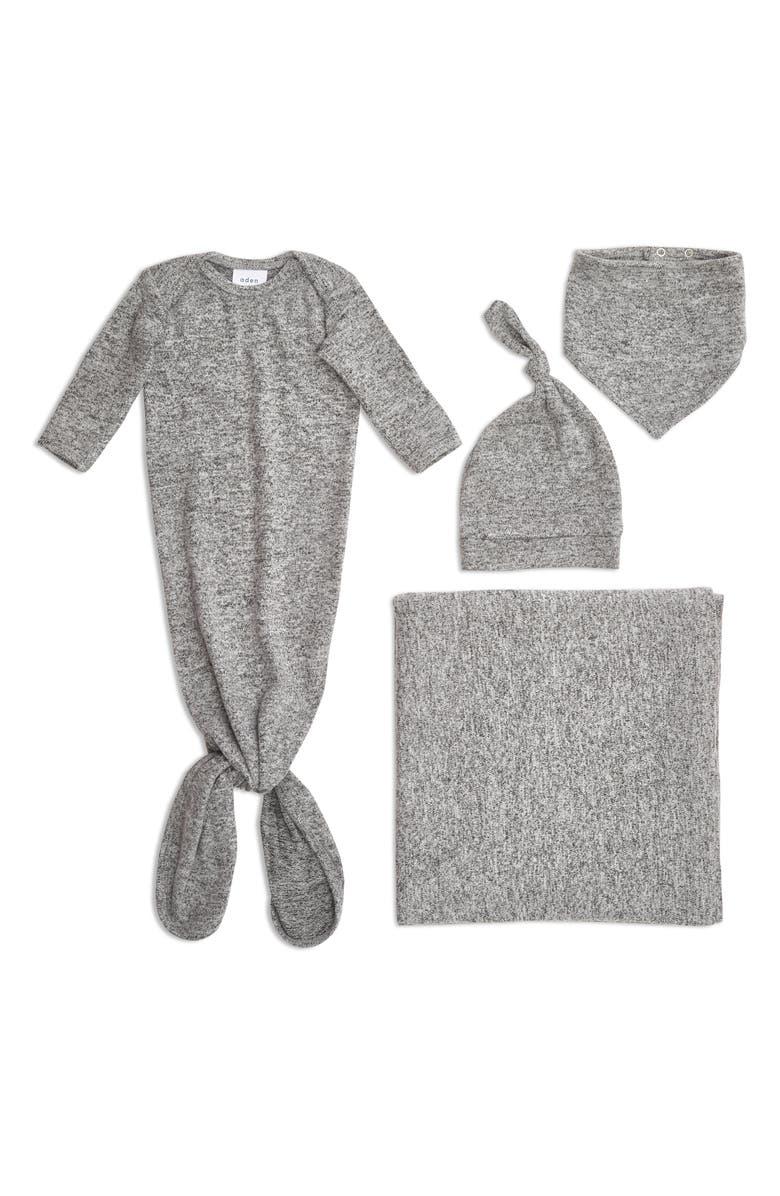 ADEN + ANAIS Snuggle Knit Newborn Gift Set, Main, color, HEATHER GREY