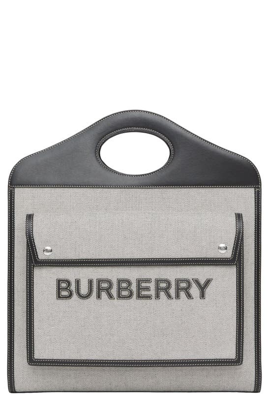 Burberry MEDIUM LOGO APPLIQUE CANVAS & LEATHER POCKET BAG