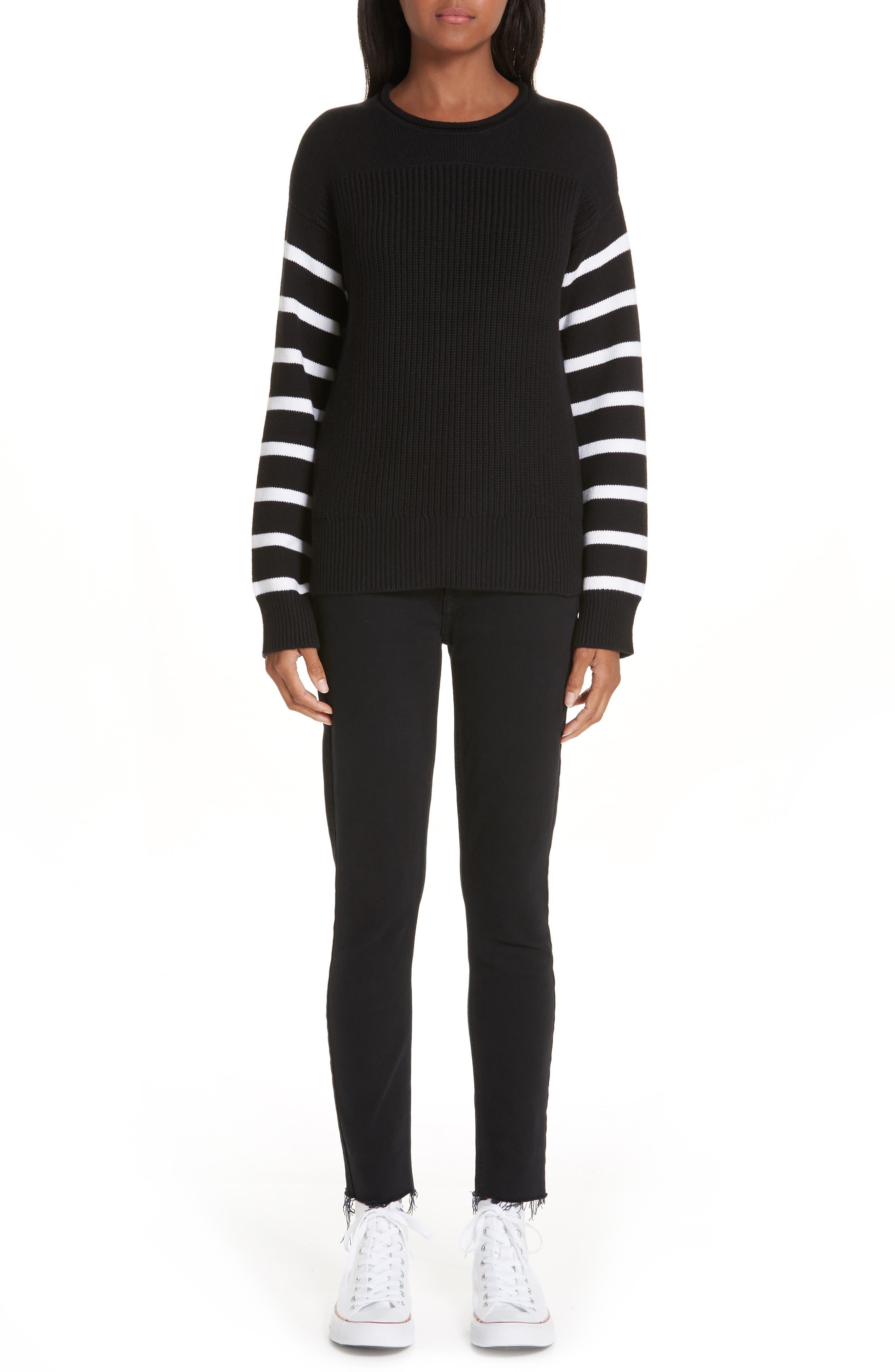 ,                             Stripe Sleeve Cotton Sweater,                             Alternate thumbnail 7, color,                             BLACK