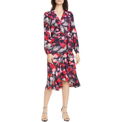 Dvf Carla Two Floral Long Sleeve Silk Wrap Dress, Red
