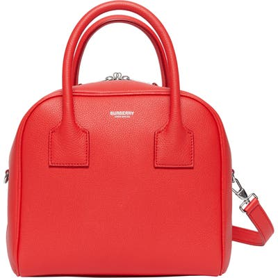 Burberry Small Cube Leather Satchel - Red