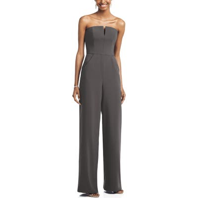 Dessy Collection Strapless Crepe Jumpsuit, Grey