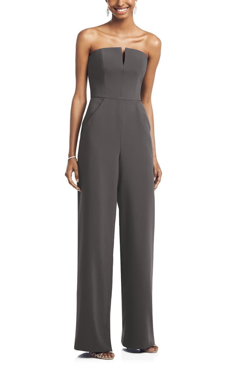 DESSY COLLECTION Strapless Crepe Jumpsuit, Main, color, CAVIAR