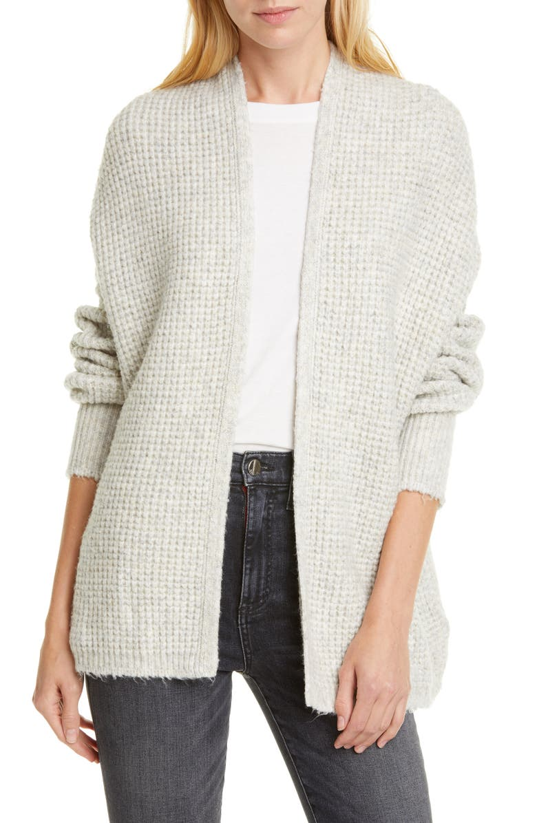 LINE Waffle Knit Open Front Cardigan, Main, color, AVALANCHE