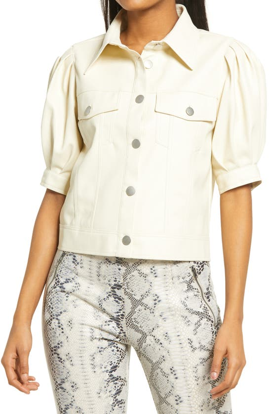 Kendall + Kylie Puff Sleeve Button-up Top In Vanilla Bean