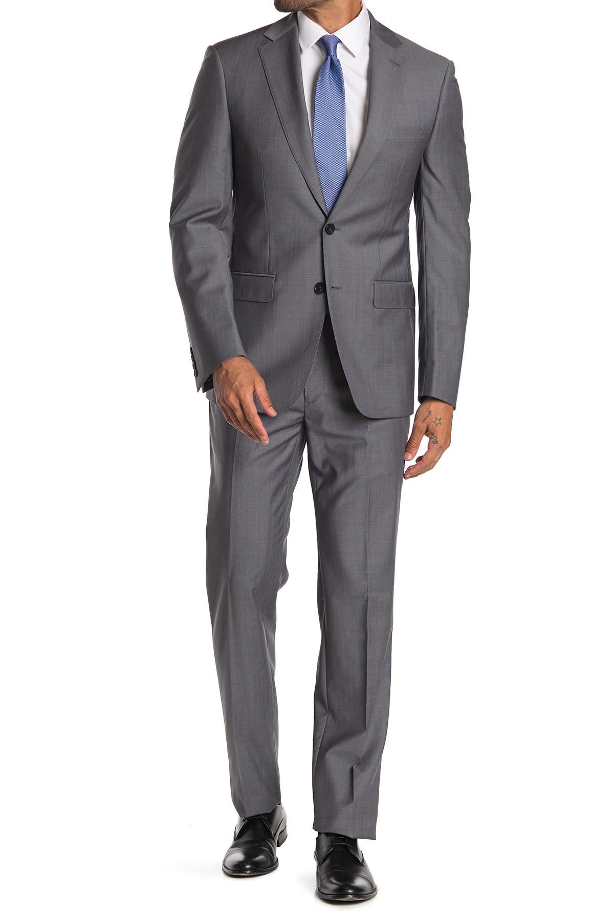 Image of Calvin Klein Dark Grey Shark Skin Wool Two Button Notch Lapel Suit