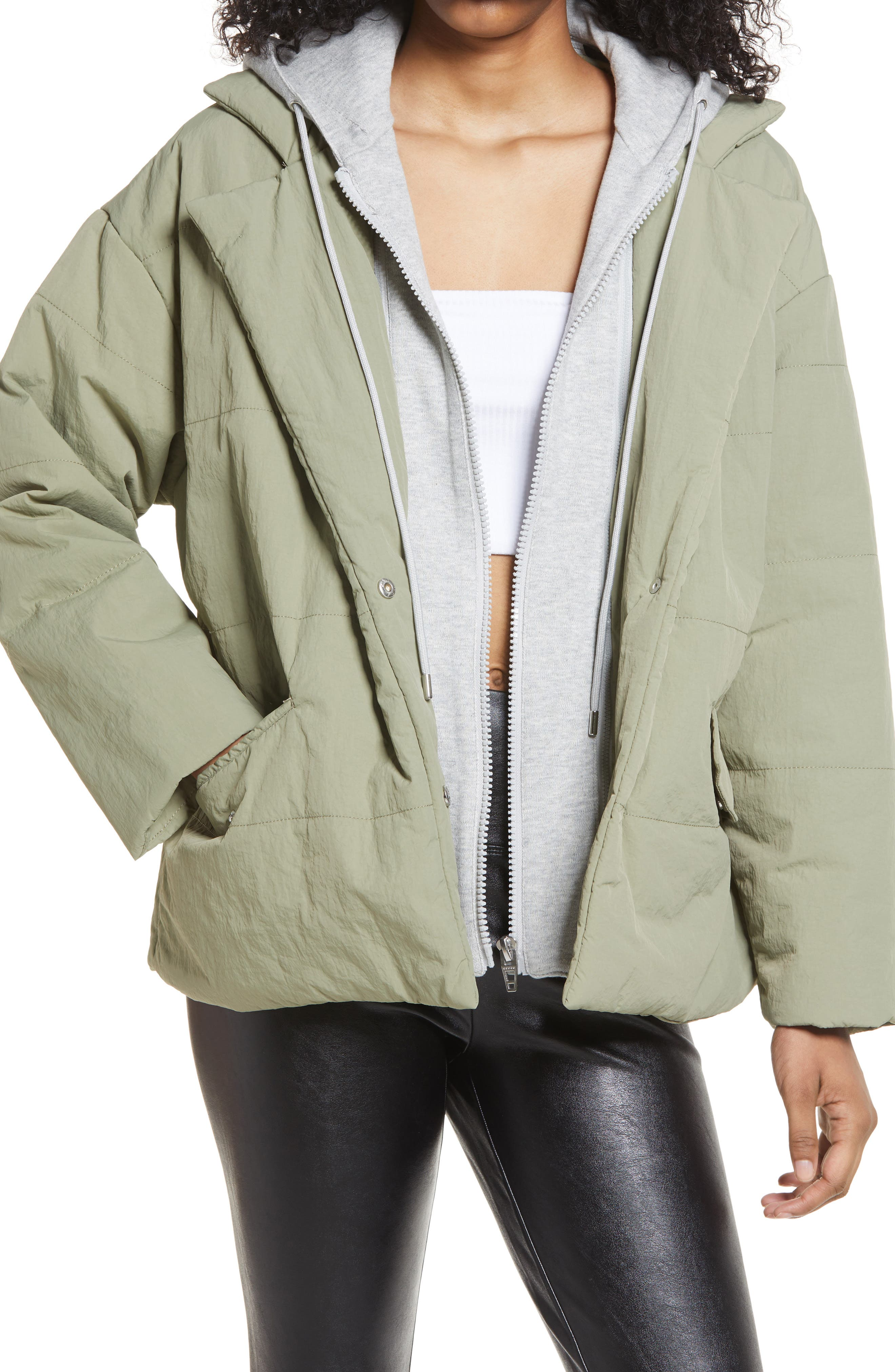 Women's Blanknyc Hooded Quilted Tie Waist Jacket, Size Large - Green