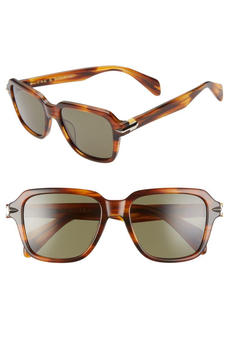 RAG & BONE 54mm Square Sunglasses, Main, color, HAVANA/ GREEN