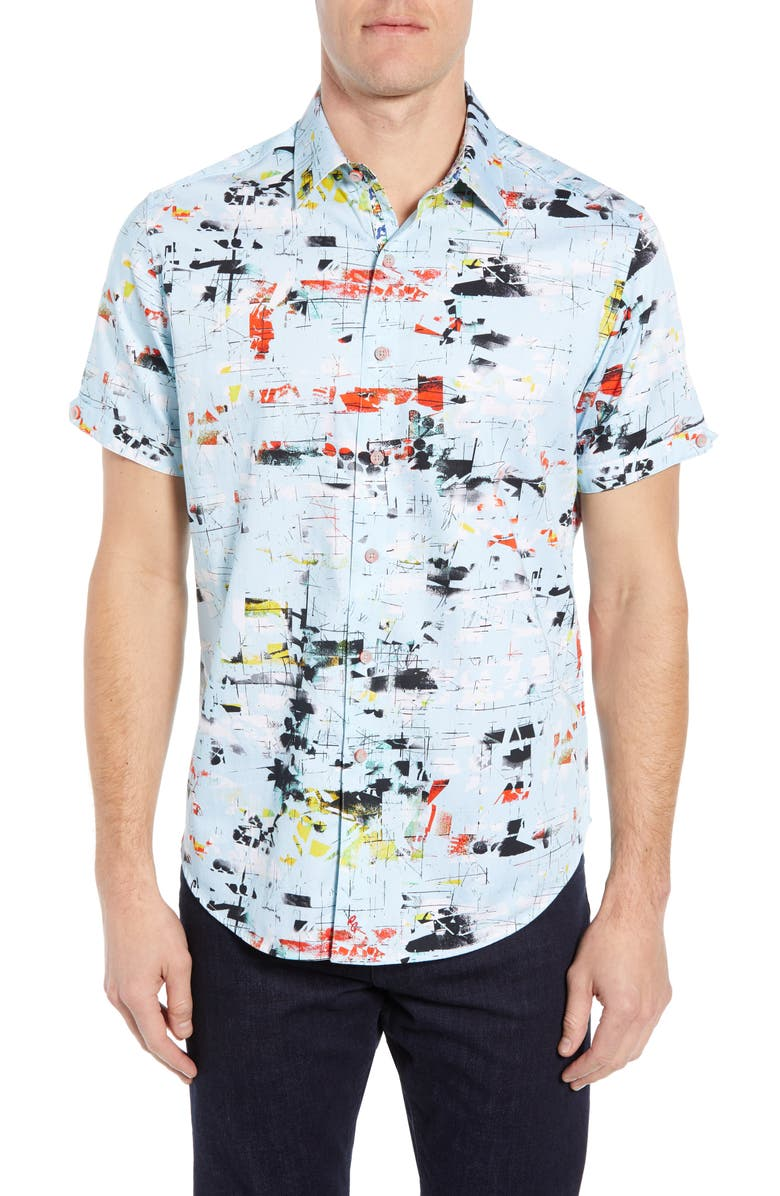 ROBERT GRAHAM Kano Classic Fit Print Sport Shirt, Main, color, LIGHT BLUE