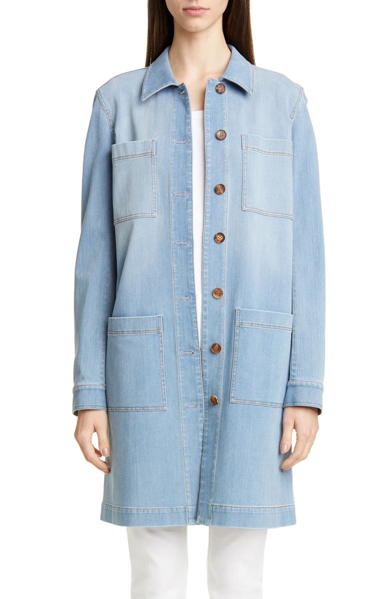 LAFAYETTE 148 NEW YORK Corinthia Longline Denim Jacket, Main, color, BLUE JAY