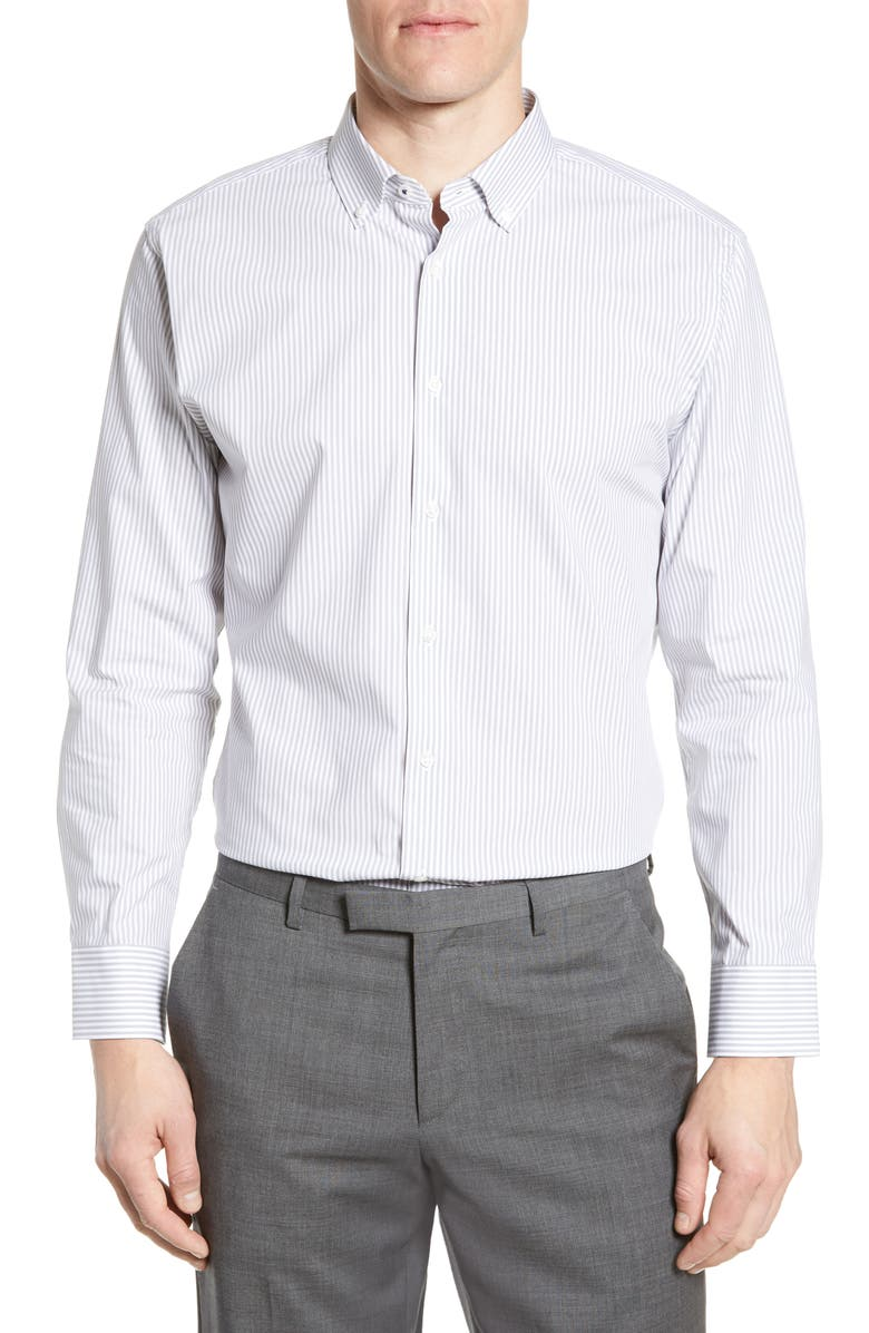 NORDSTROM MEN'S SHOP Tech-Smart Trim Fit Stretch Stripe Dress Shirt, Main, color, GREY SLEET