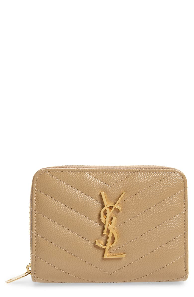 SAINT LAURENT Monogramme Compact Quilted Zip Around Wallet, Main, color, LATTE