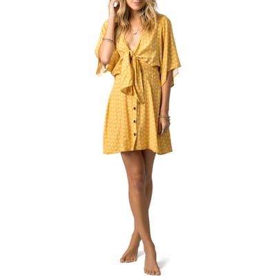 Rip Curl Coastal Tides Knot Front Minidress, Yellow