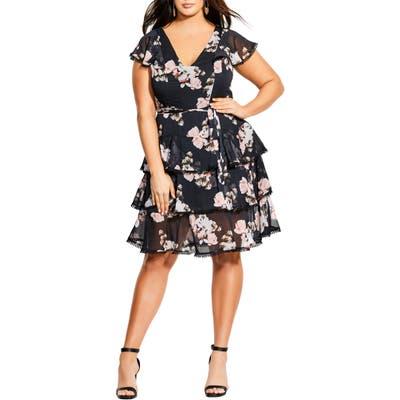 Plus Size City Chic Lotus Tiered Ruffle Dress, Black
