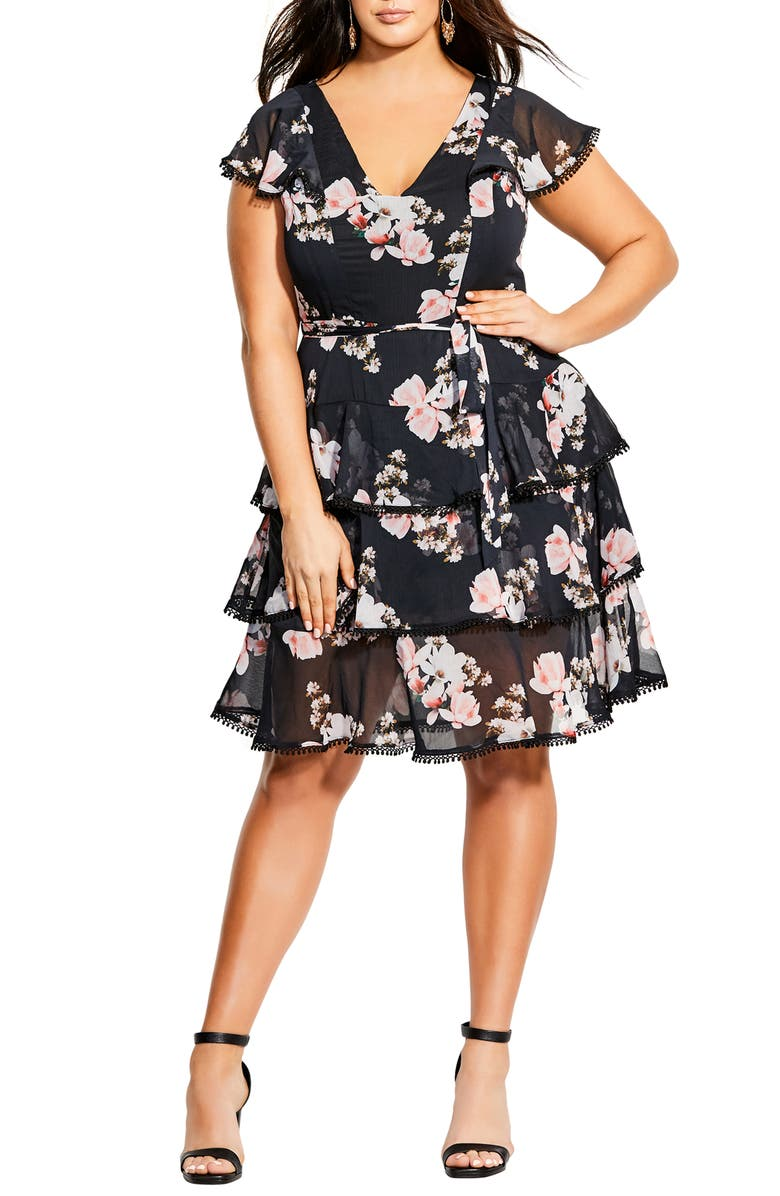CITY CHIC Lotus Tiered Ruffle Dress, Main, color, 001