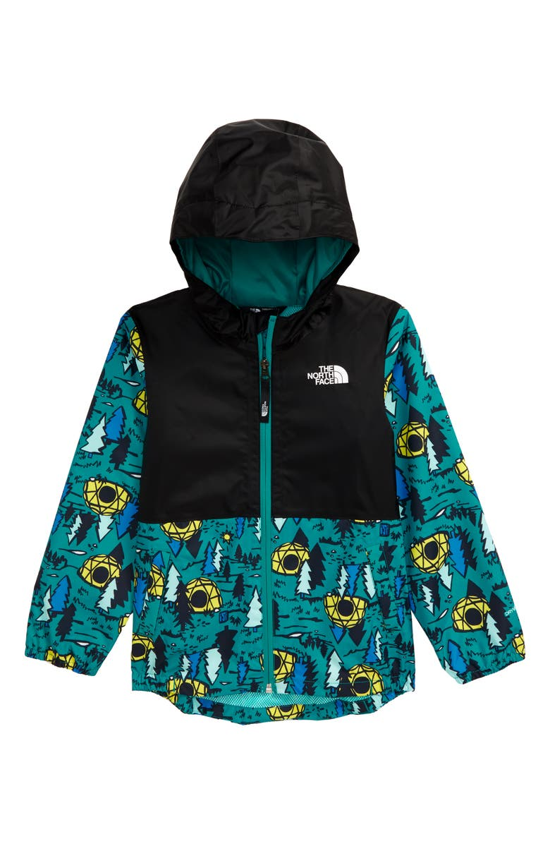 THE NORTH FACE Zipline Hooded Rain Jacket, Main, color, JAIDEN GREEN HAPPY CAMPY