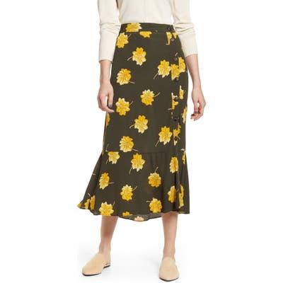 Madewell Fall Flowers Ruffle Hem Midi Skirt, Green