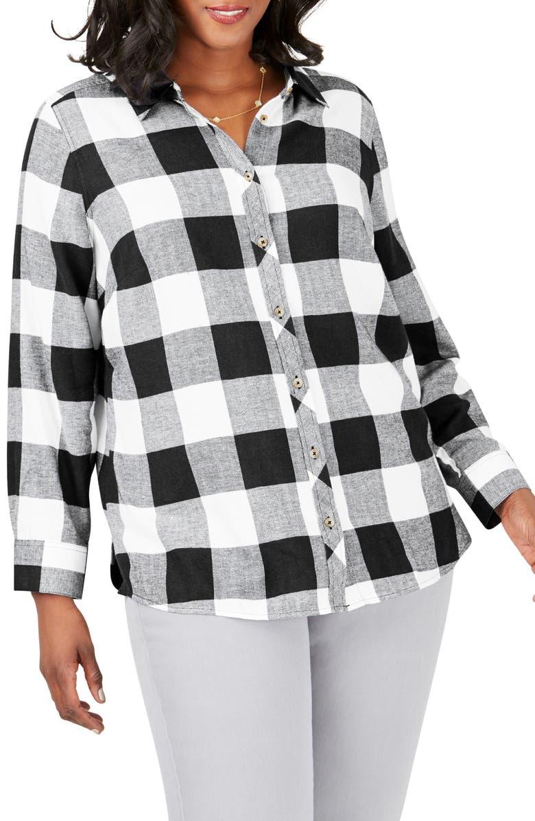 FOXCROFT Rhea Buffalo Check Brushed Cotton Blend Shirt, Main, color, BLACK