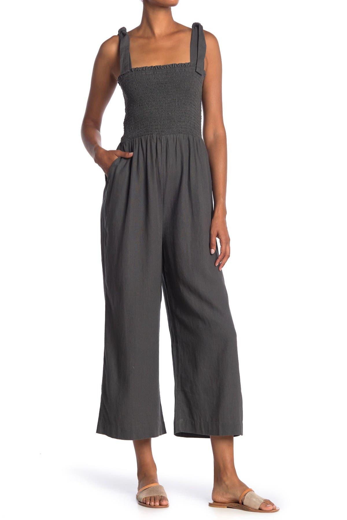 Image of SUSINA Tie Strap Smocked Linen Blend Crop Jumpsuit