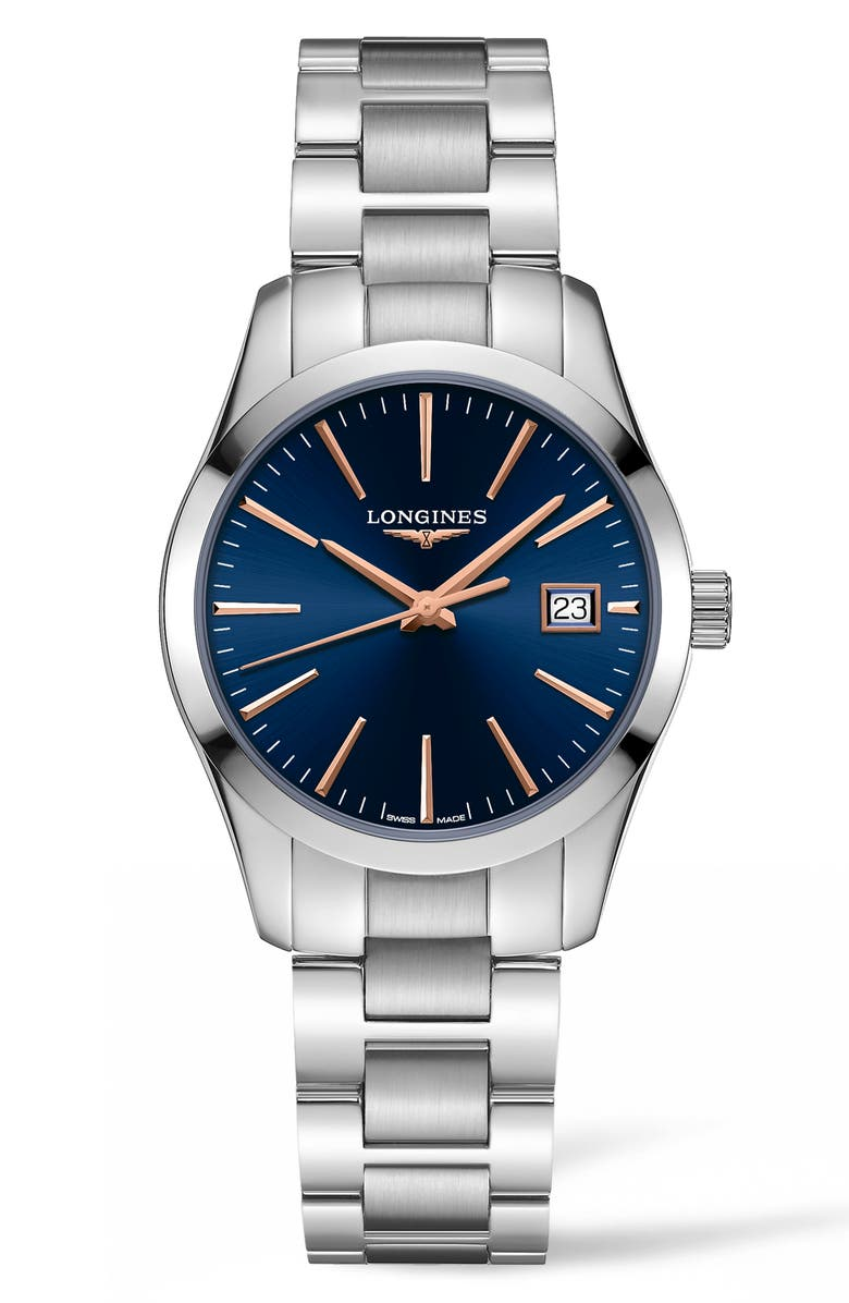 LONGINES Conquest Classic Bracelet Watch, 34mm, Main, color, SILVER/ BLUE