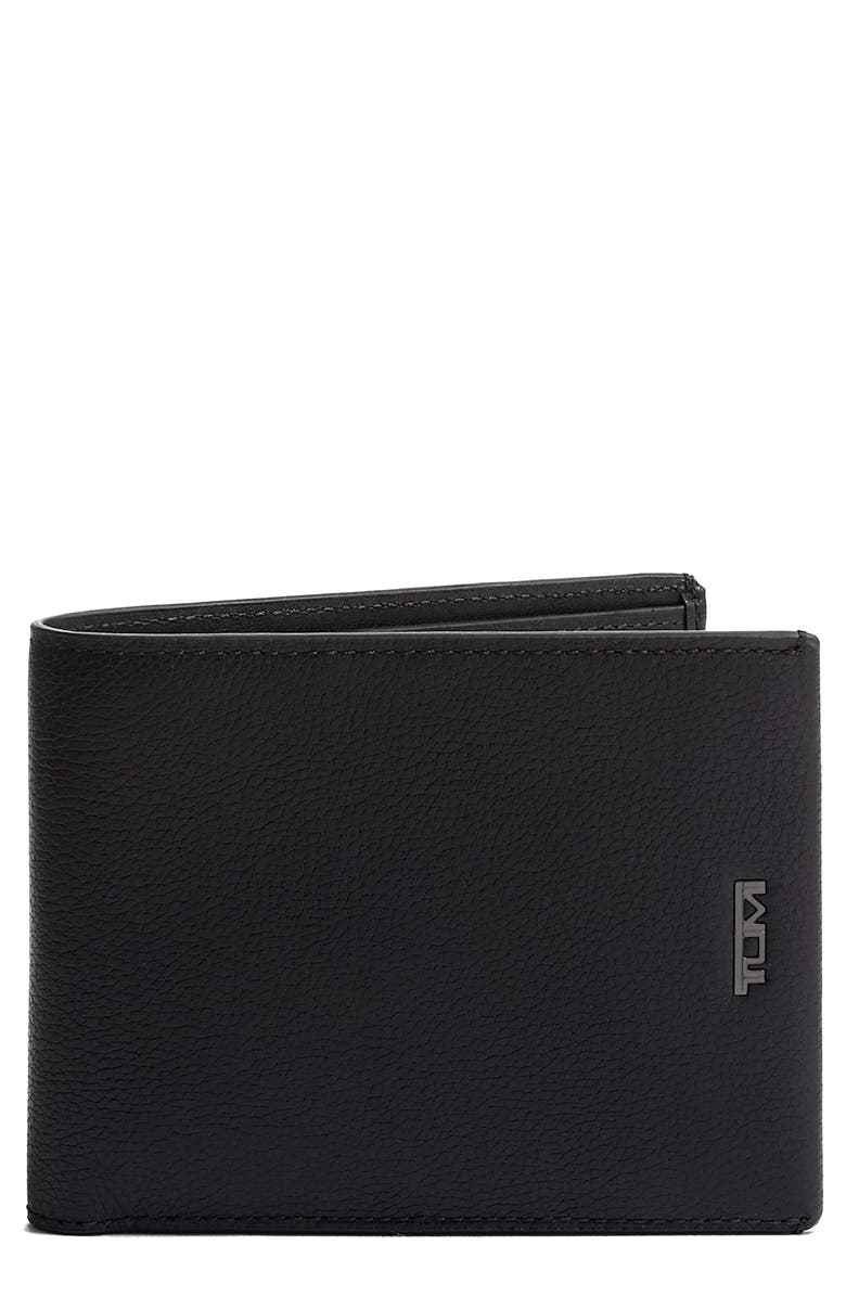 TUMI Nassau Global Double Leather Wallet, Main, color, BLACK TEXTURE