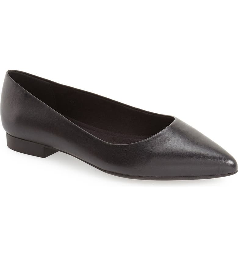 BELLA VITA 'Vivien' Pointy Toe Flat, Main, color, BLACK LEATHER