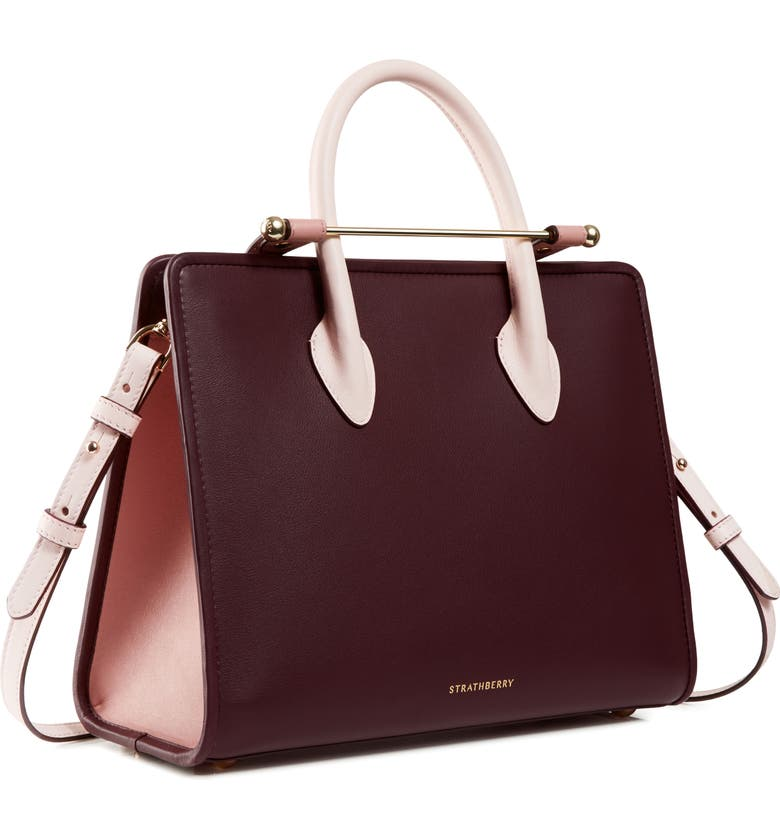 STRATHBERRY Midi Tricolor Leather Tote, Main, color, SOFT PINK