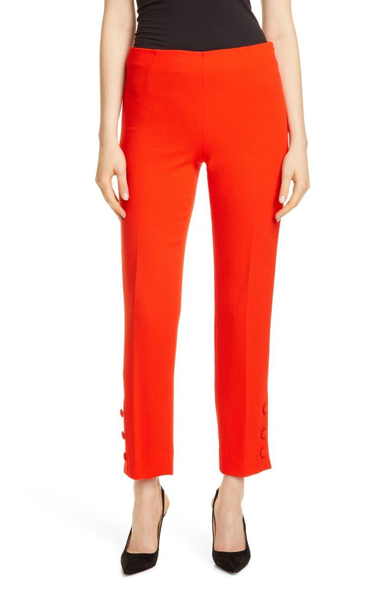 LELA ROSE Button Cuff Pants, Main, color, SCARLET
