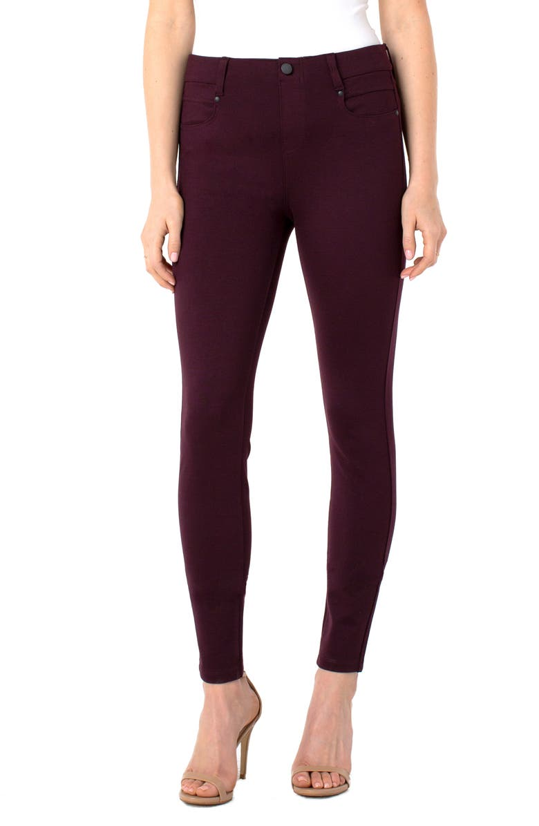 LIVERPOOL Gia Glider Knit Pull-On Pants, Main, color, AUBERGINE