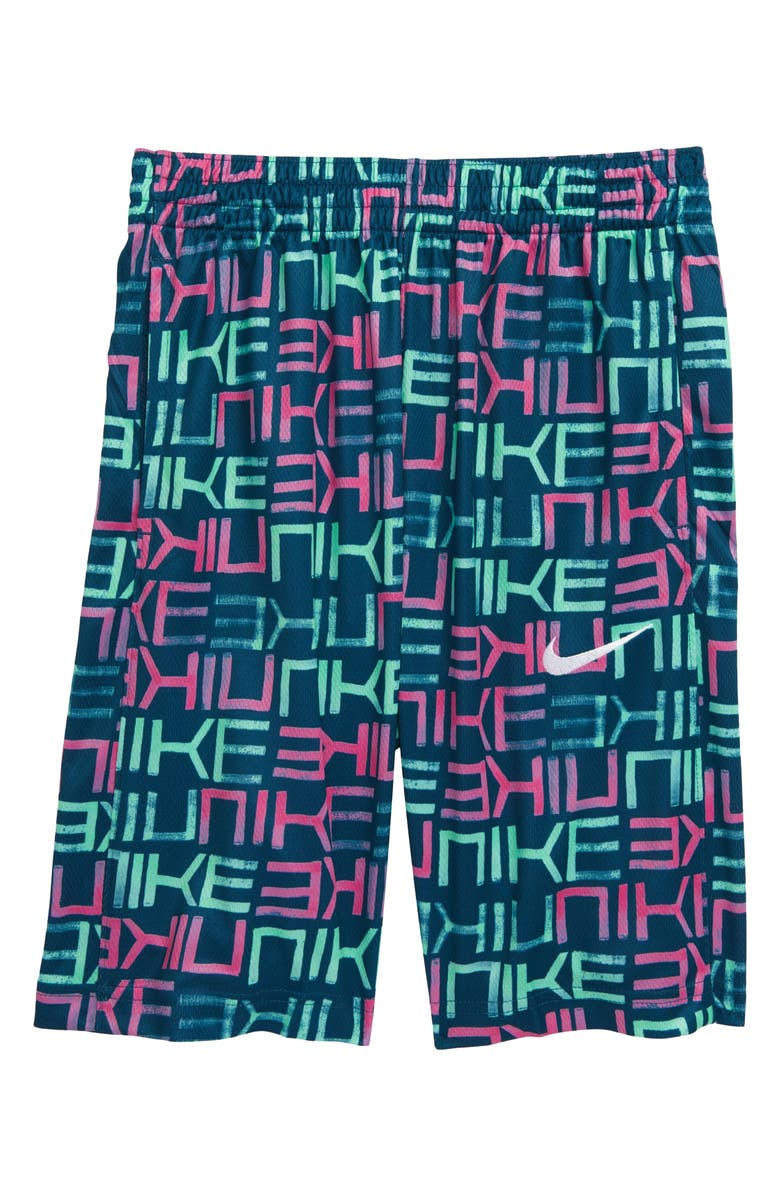 NIKE Dri-FIT Avalanche Athletic Shorts, Main, color, MIDNIGHT TURQ/ FIRE PINK
