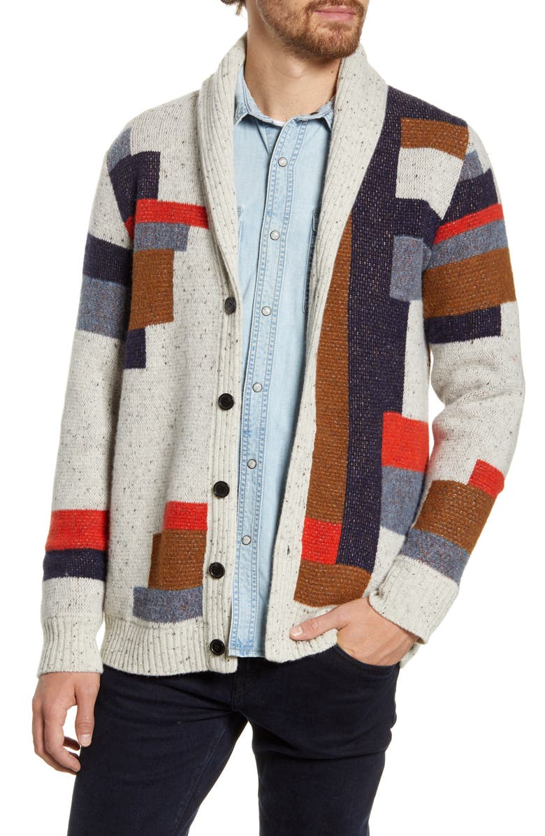 BILLY REID Patchwork Quilt Wool Cardigan Sweater, Main, color, MULTI