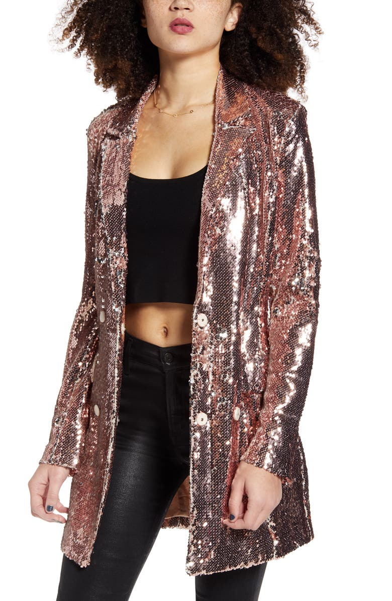ENDLESS ROSE Sequin Double Breasted Blazer, Main, color, 710