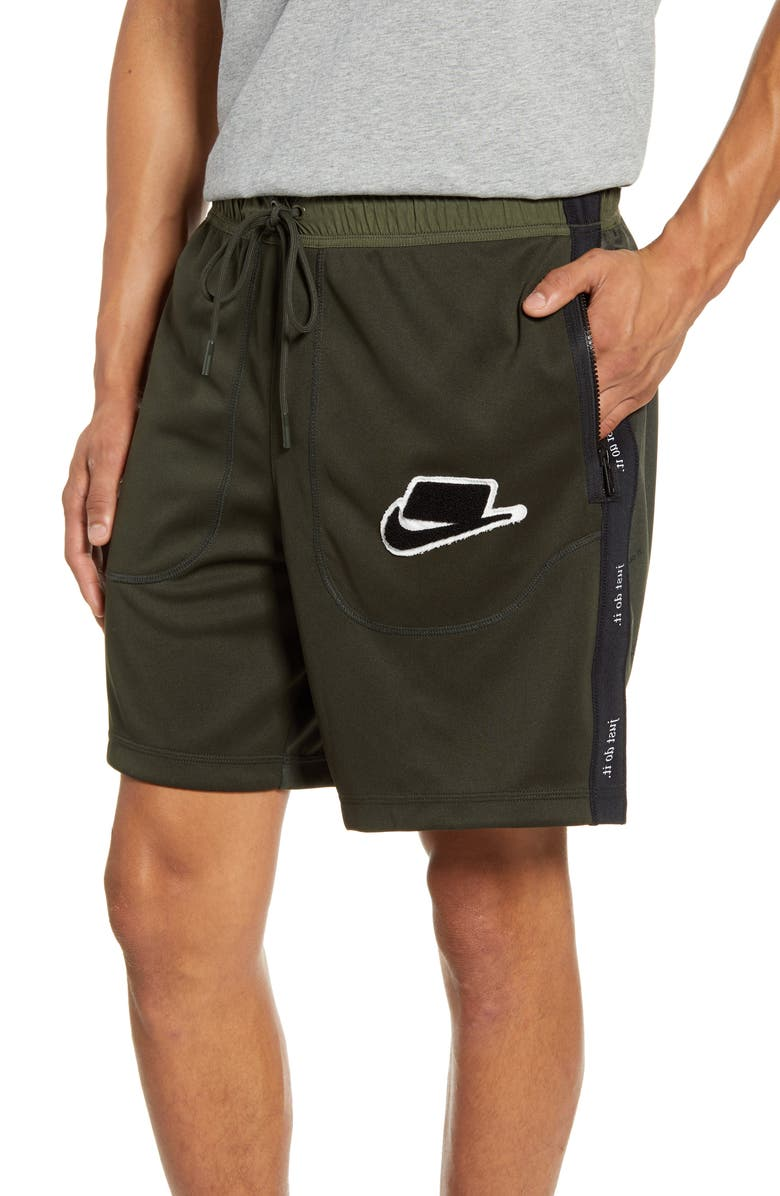 NIKE Sportswear Zip Pocket Athletic Shorts, Main, color, SEQUOIA/ CARGO KHAKI/ BLACK