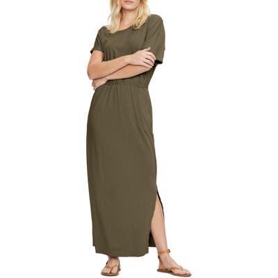 Michael Stars Chantel Side Slit Short Sleeve Cotton Blend Maxi Dress, Green